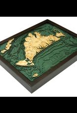 WoodCharts Martha's Vineyard (Bathymetric 3-D Wood Carved Nautical Chart)