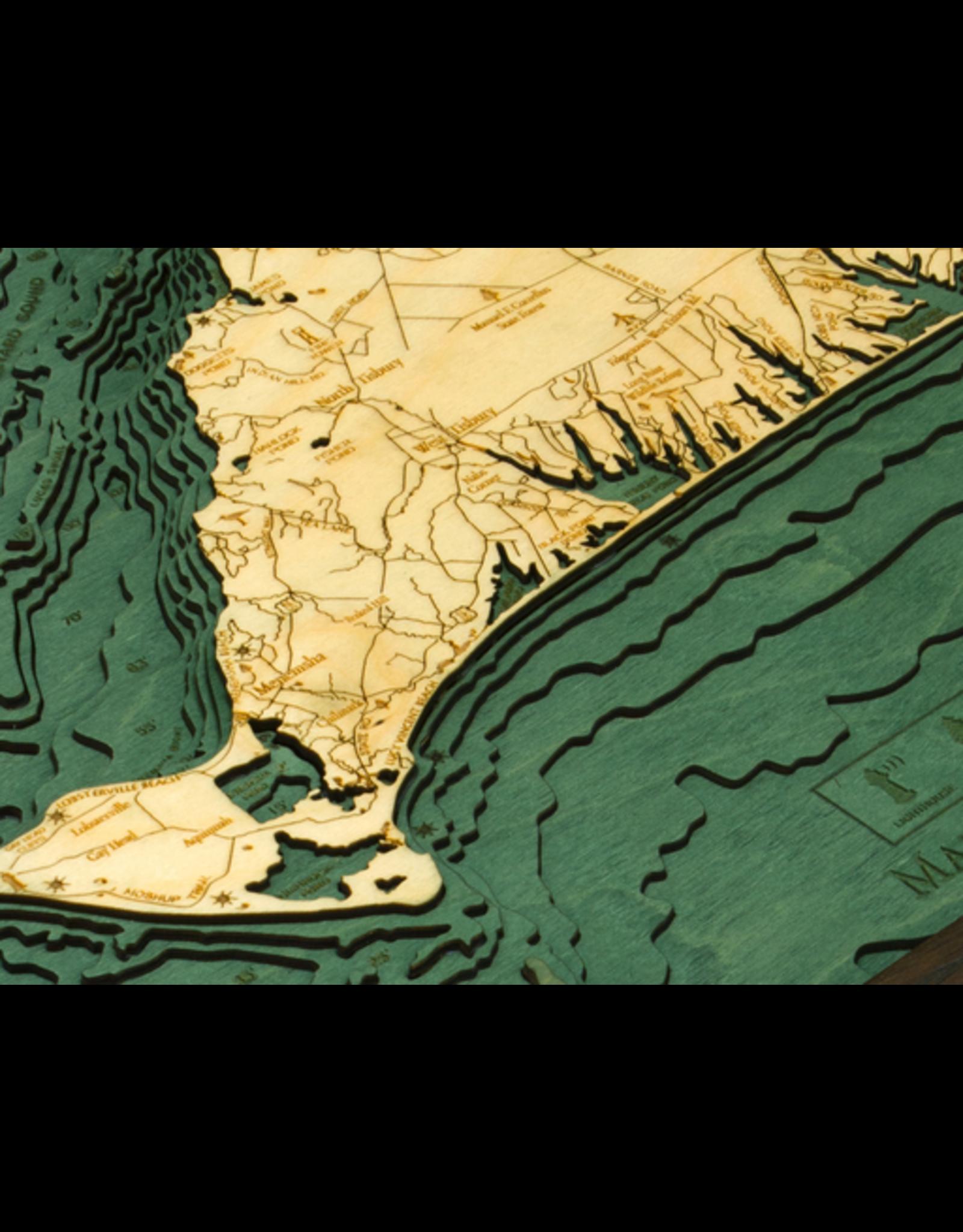 WoodCharts Martha's Vineyard (Bathymetric 3-D Nautical WOODCHART)