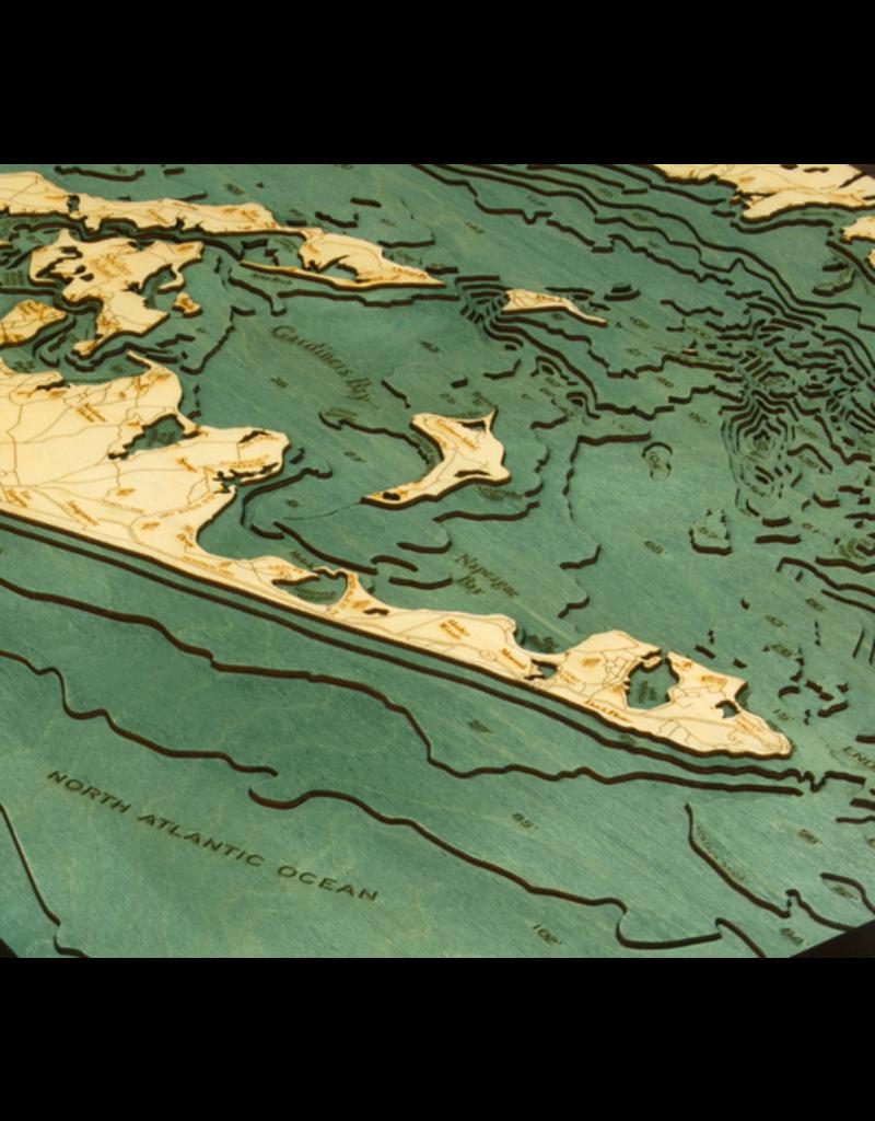 WoodCharts Long Island Sound (EAST, Bathymetric 3-D Wood Carved Nautical Chart)