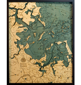 WoodCharts Boston Harbor (Bathymetric 3-D Wood Carved Nautical Chart)