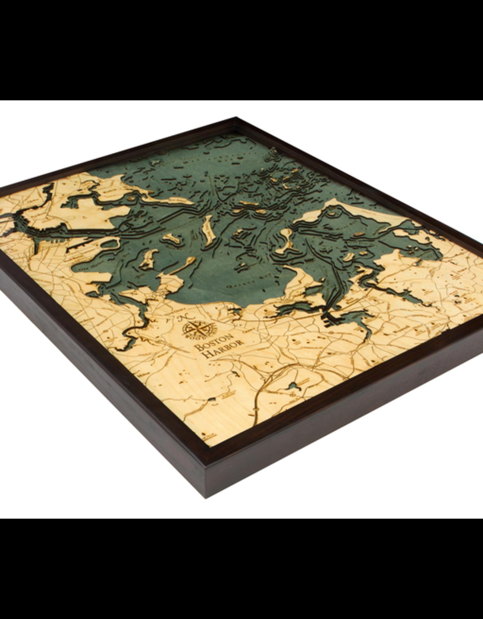 WoodCharts Boston Harbor (Bathymetric 3-D Wood Carved Nautical Chart)