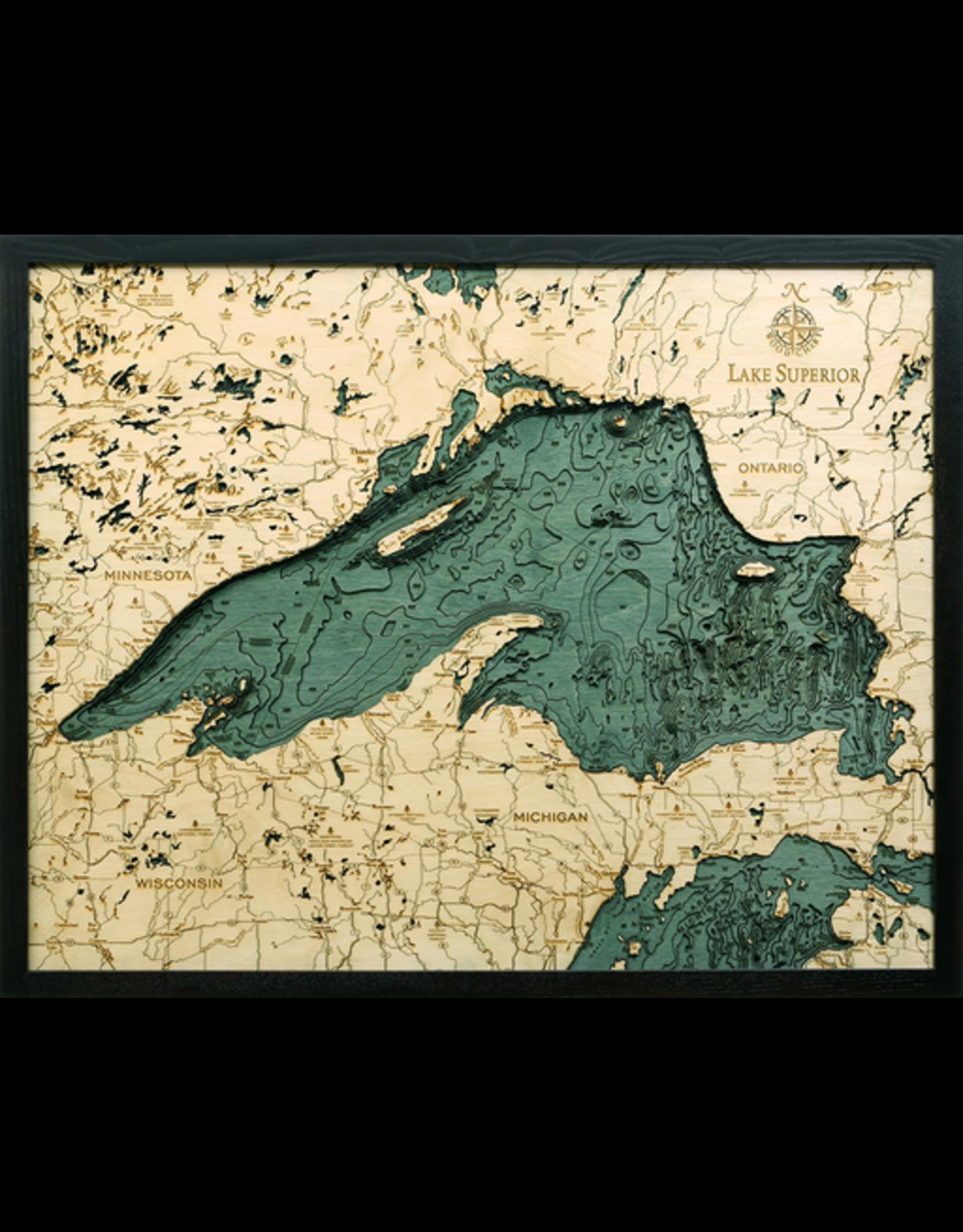 WoodCharts Lake Superior (Bathymetric 3-D Nautical WOODCHART)