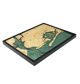 WoodCharts Brooklyn (Bathymetric 3-D Wood Carved Nautical Chart)