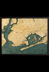 WoodCharts Brooklyn (Bathymetric 3-D Wood Carved Nautical Chart)