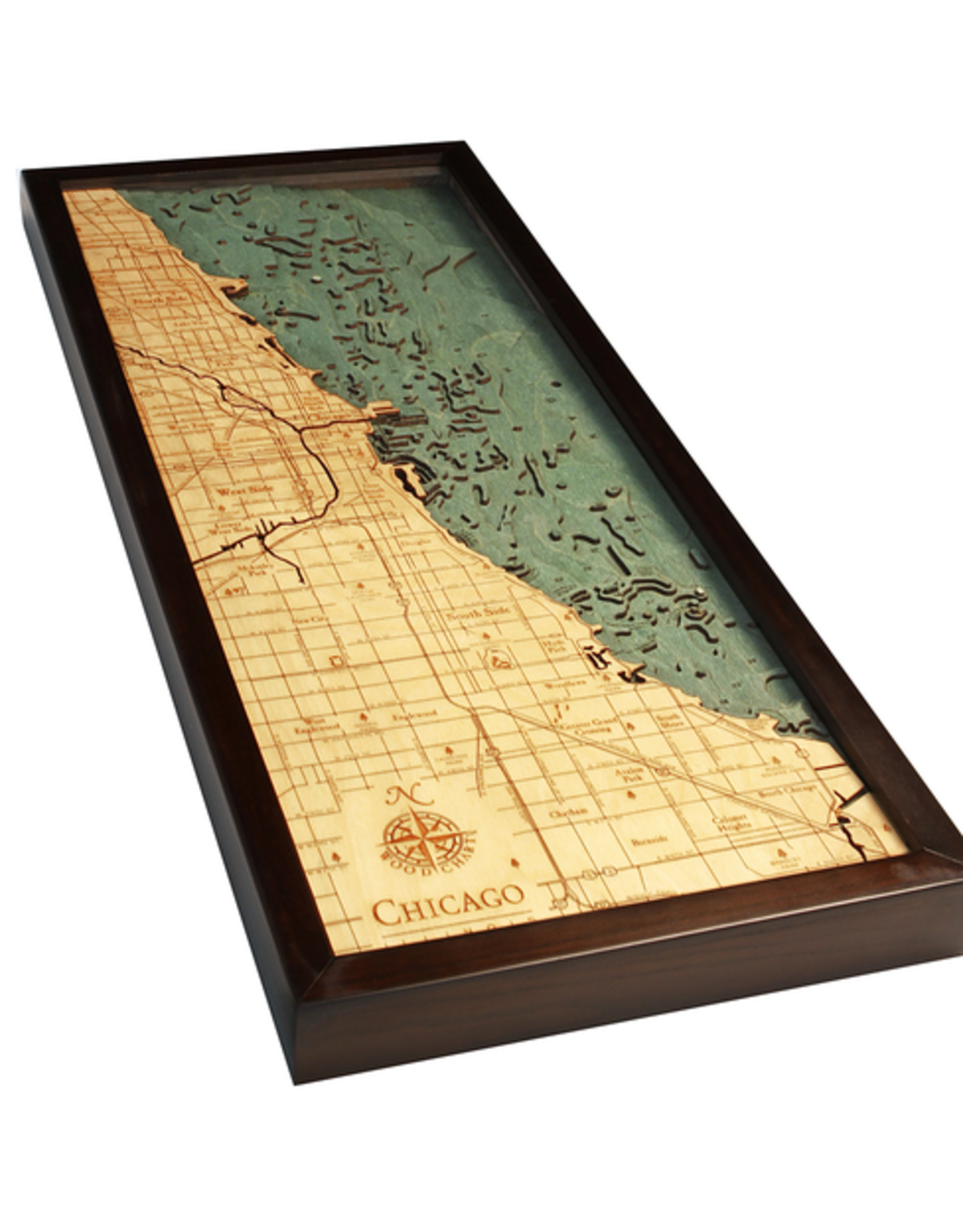WoodCharts Chicago (Bathymetric 3-D Wood Carved Nautical Chart)
