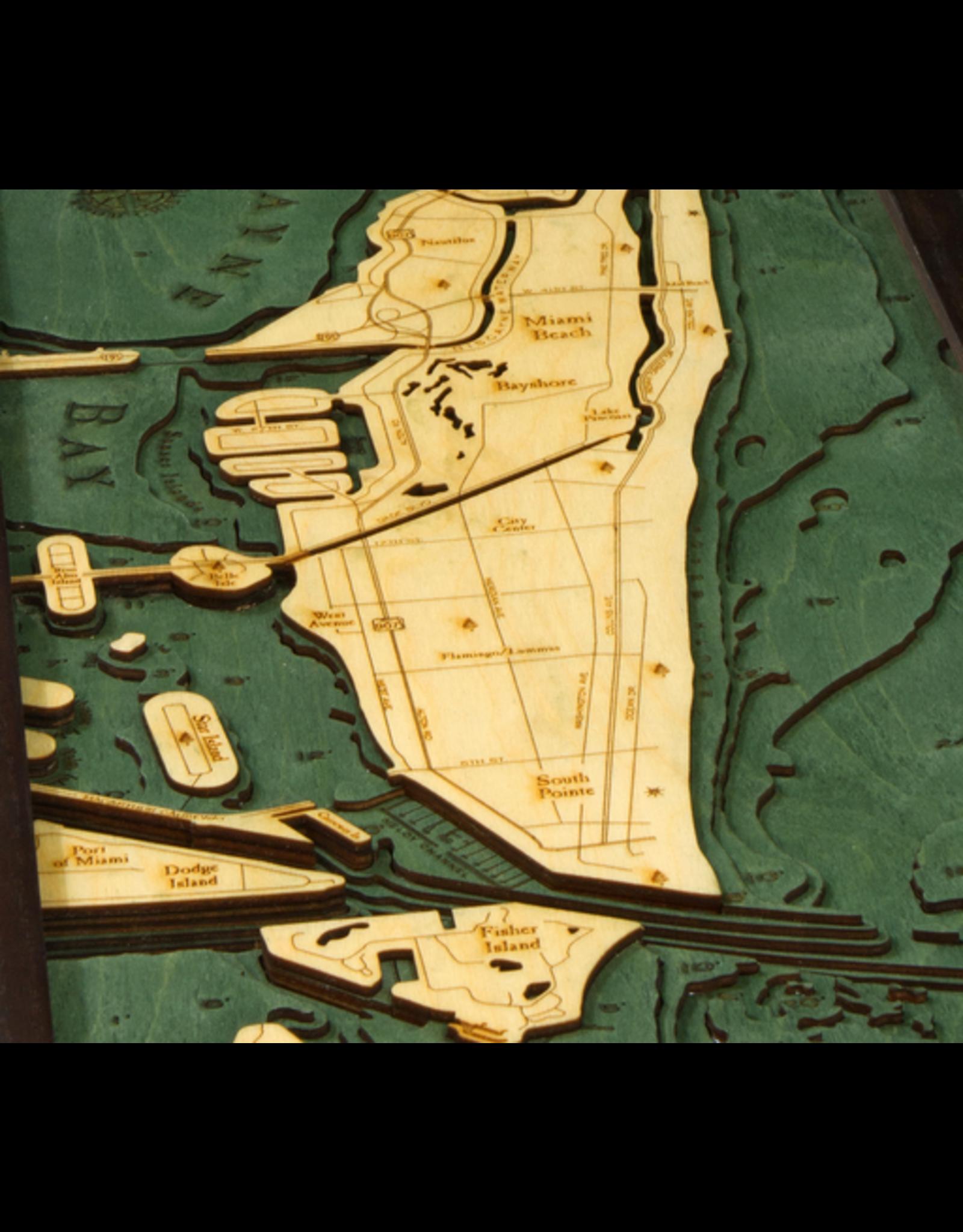 WoodCharts Miami Beach, FL (Bathymetric 3-D Nautical WOODCHART)