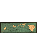 WoodCharts Hawaiian Islands (All of Them, Bathymetric 3-D Wood Carved Nautical Chart)