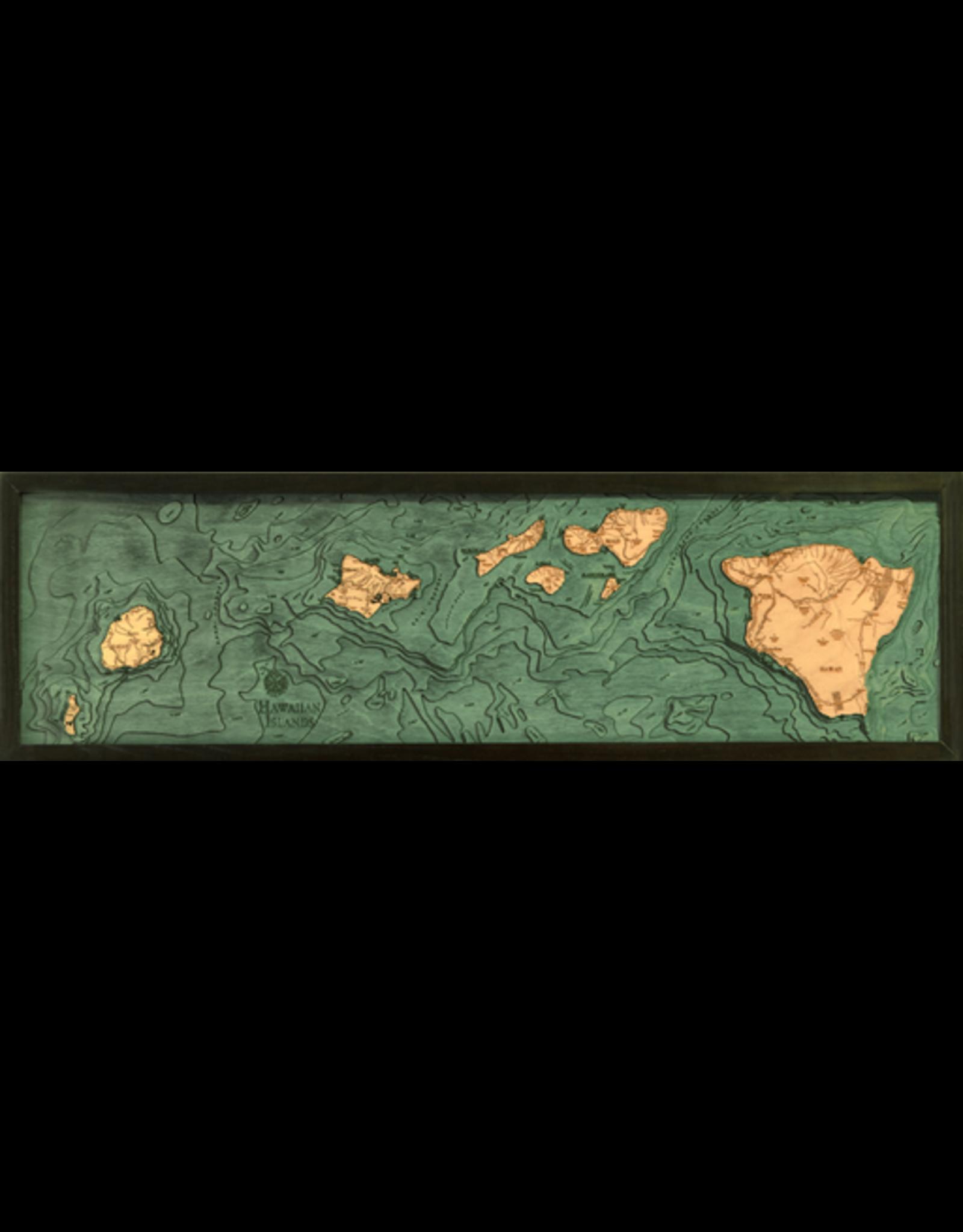 WoodCharts Hawaiian Islands (All of Them, Bathymetric 3-D Nautical WOODCHART)
