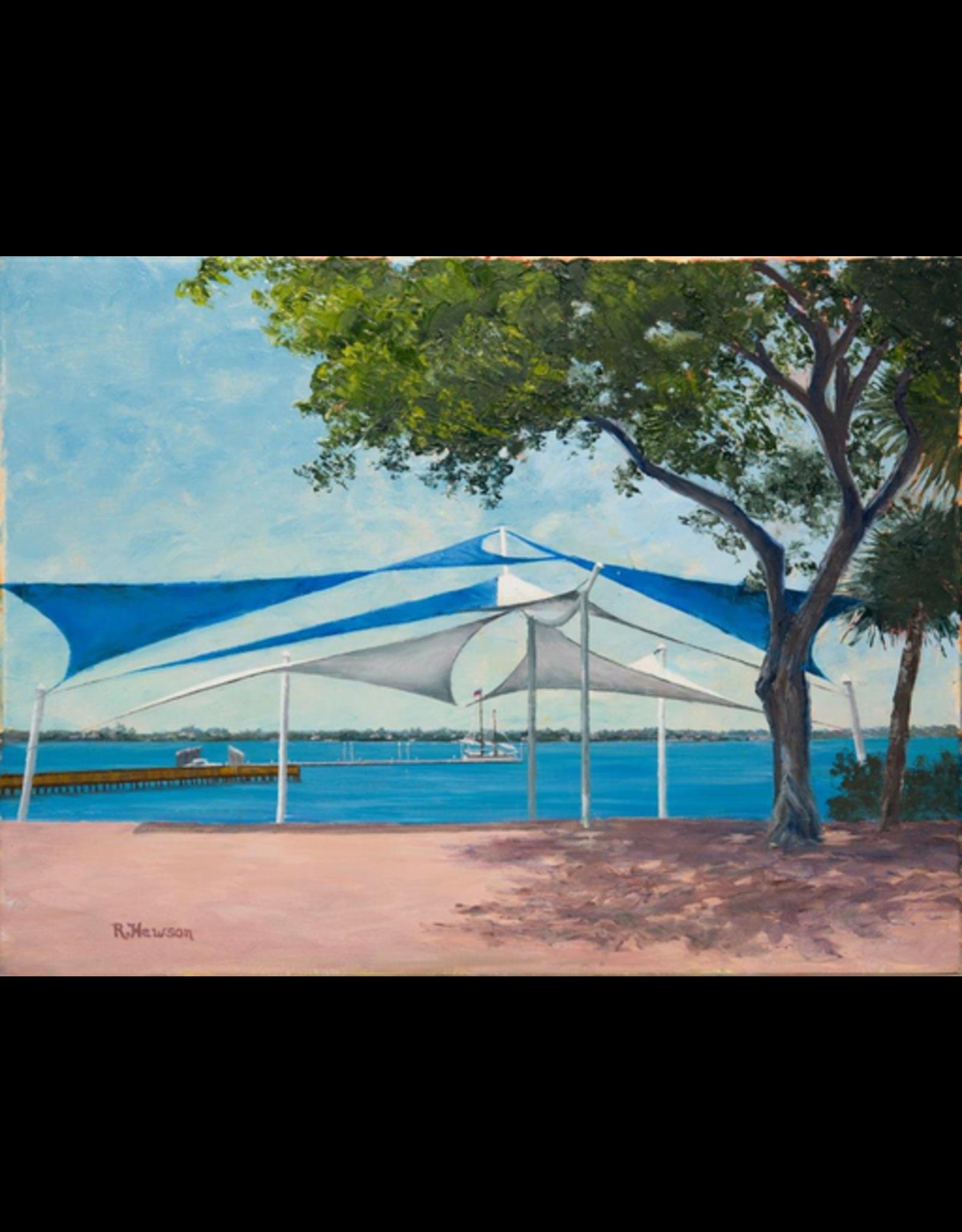 Ruthann Hewson Sails at Riverwalk Stage (Original Oil, Framed, 18x24)