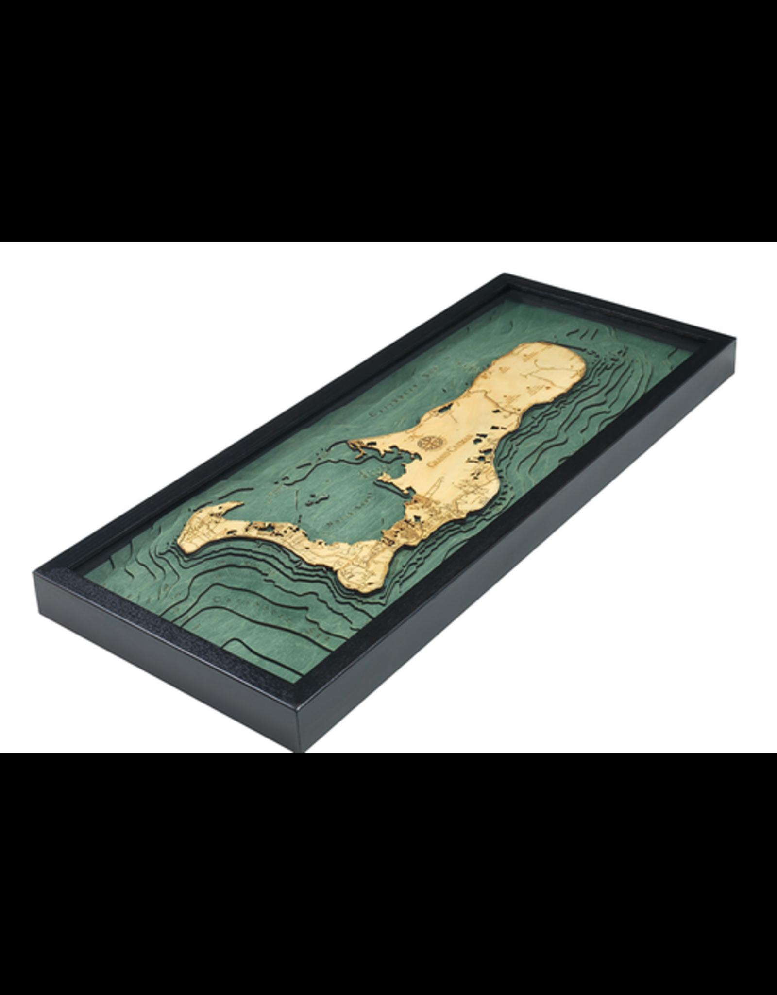 WoodCharts Cayman Island (Bathymetric 3-D Wood Carved Nautical Chart)