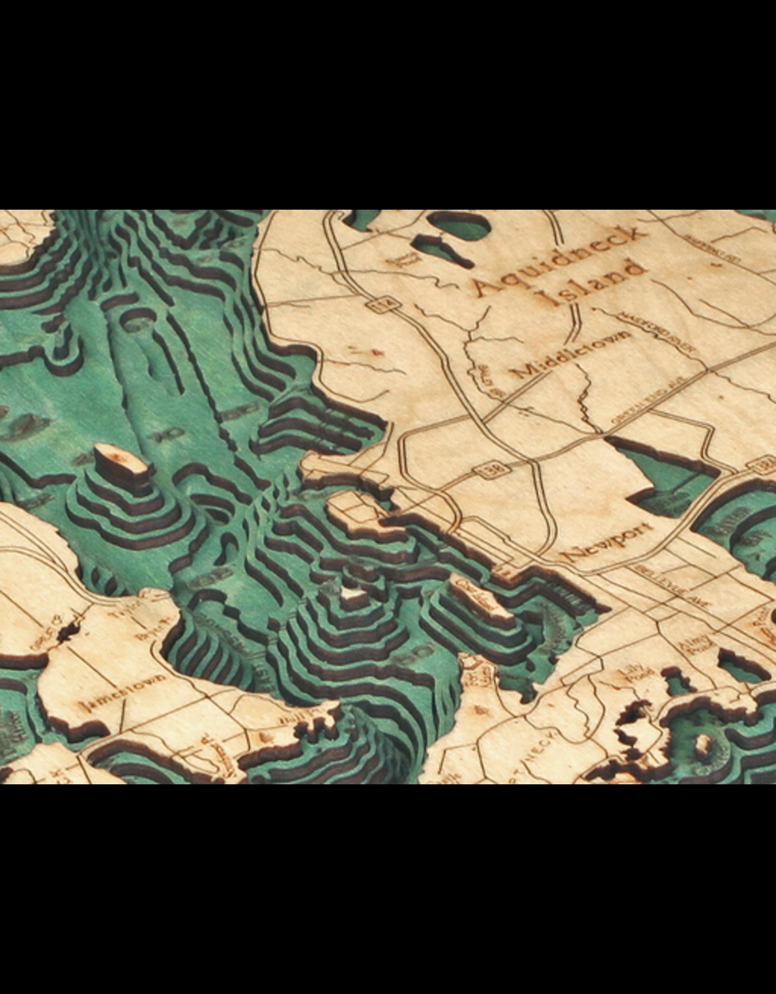 WoodCharts Narragansett Bay / Newport (Bathymetric 3-D Nautical WOODCHART)
