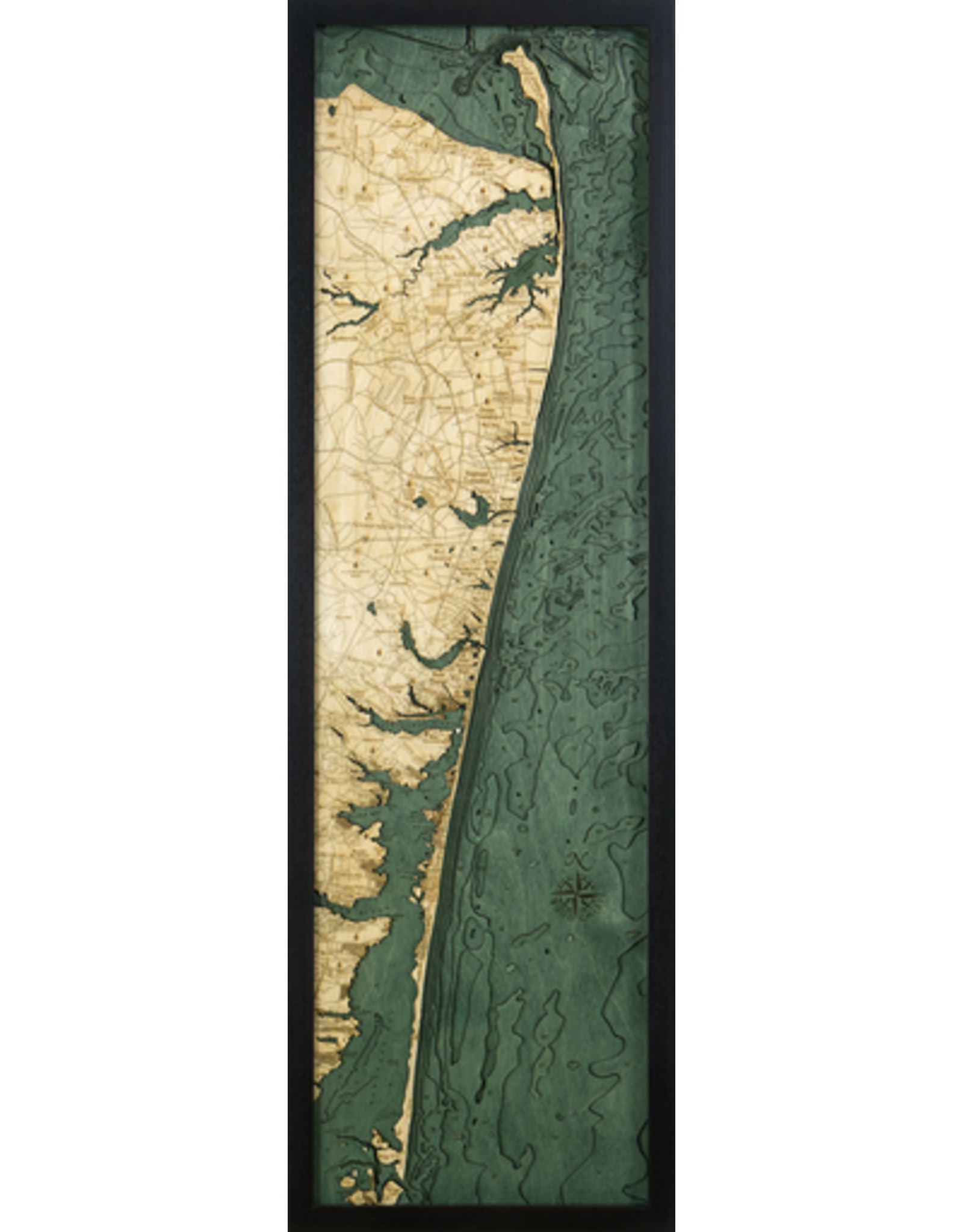 WoodCharts North Shore, NJ (Bathymetric 3-D Wood Carved Nautical Chart)