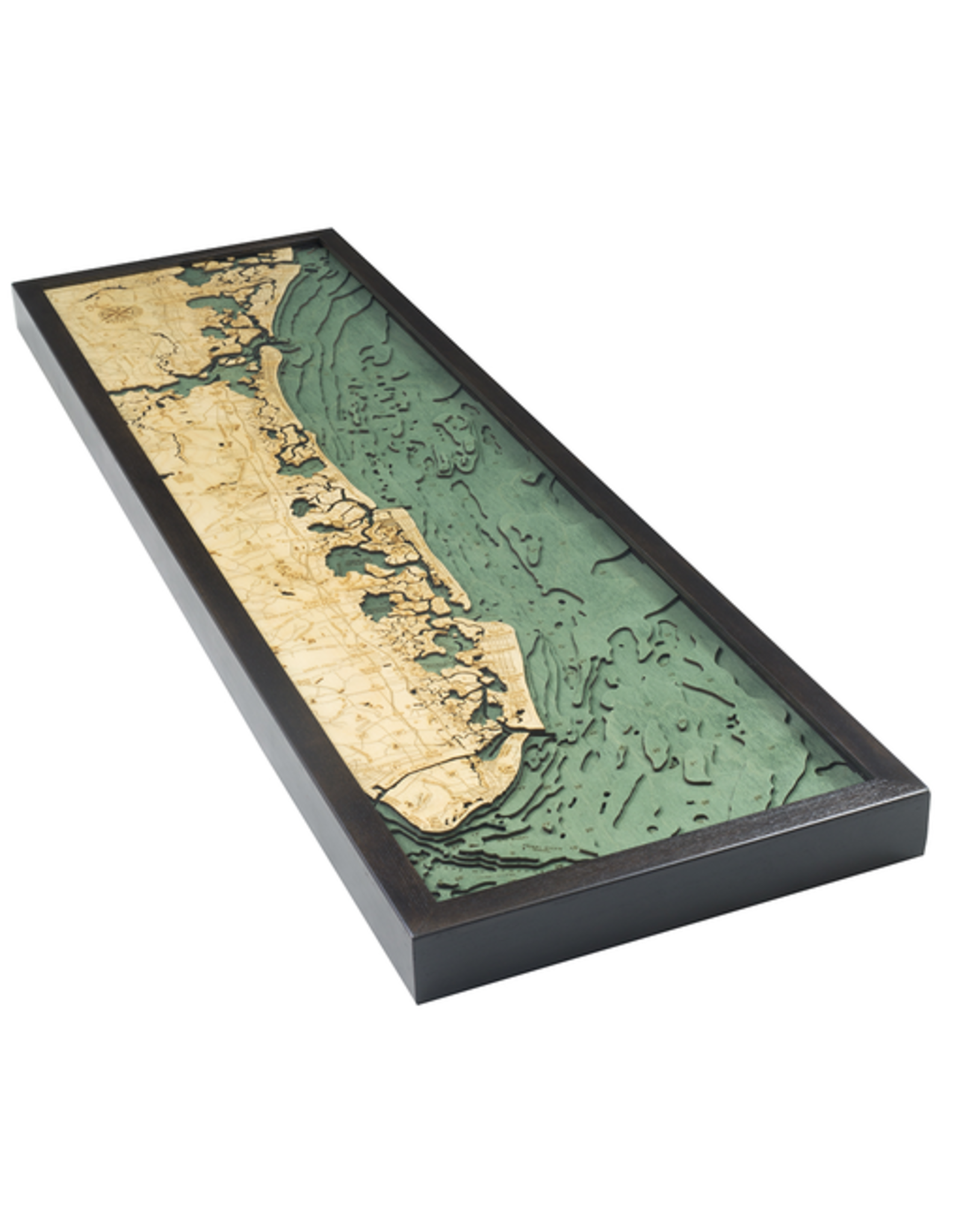 WoodCharts South Shore, NJ (Bathymetric 3-D Wood Carved Nautical Chart)