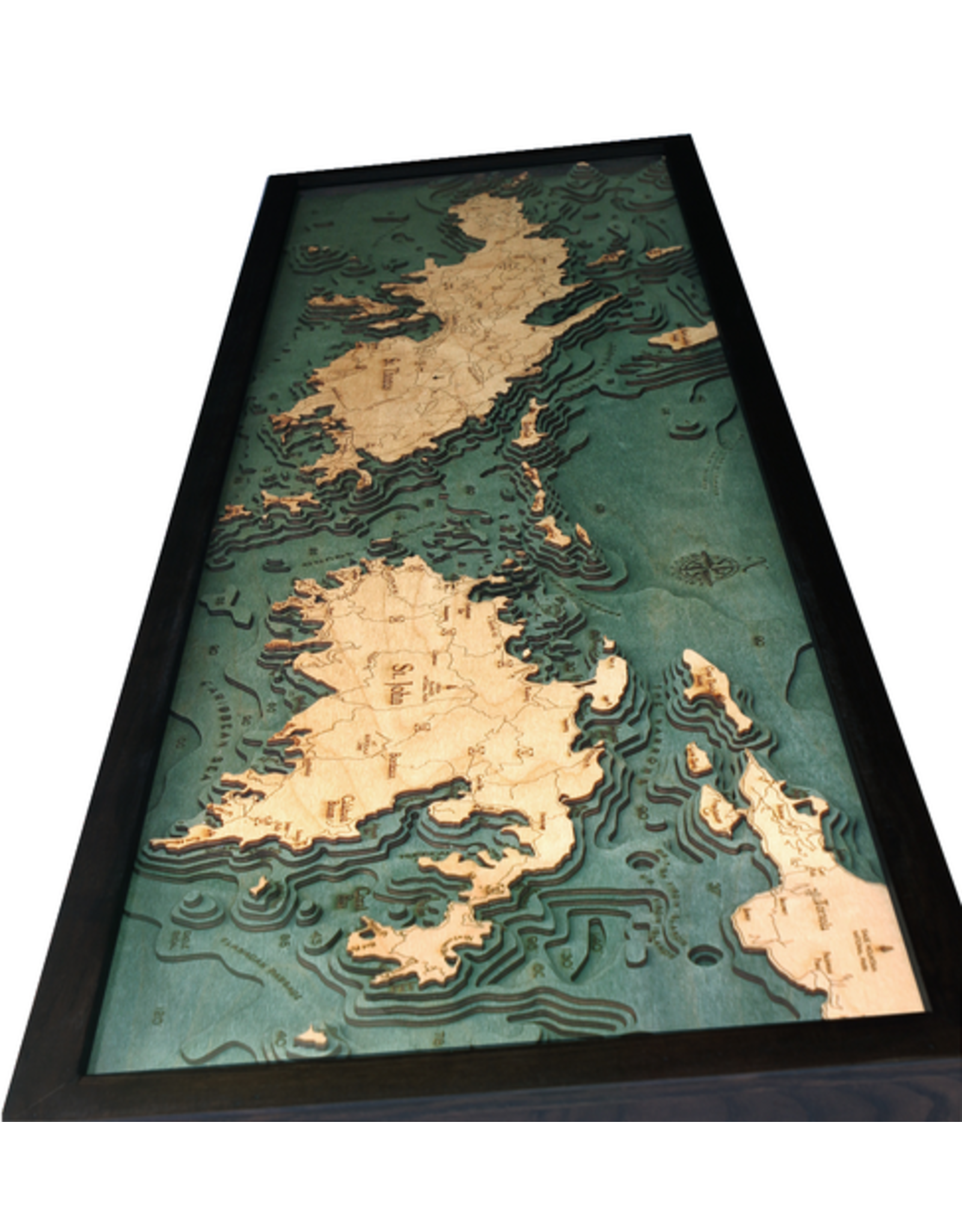 WoodCharts Virgin Islands (Bathymetric 3-D Wood Carved Nautical Chart)
