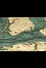 WoodCharts Tampa Bay/St. Petersburg, FL (Bathymetric 3-D Wood Carved Nautical Chart)