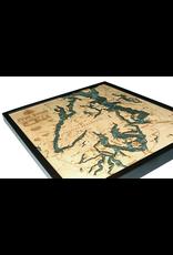 WoodCharts Puget Sound (Bathymetric 3-D Wood Carved Nautical Chart)