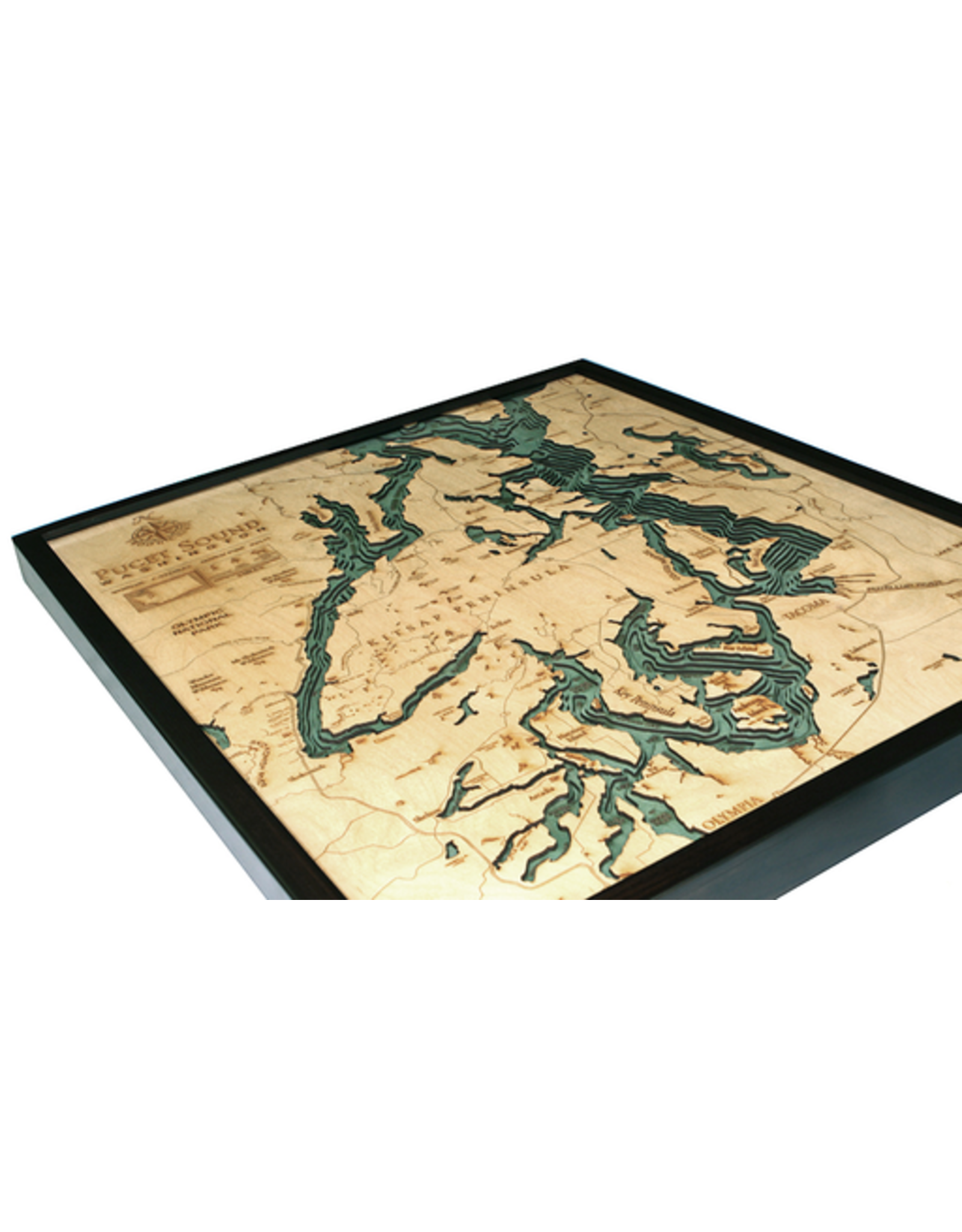 WoodCharts Puget Sound, WA (Bathymetric 3-D Nautical WOODCHART)