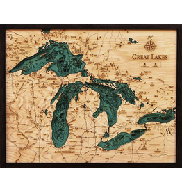 WoodCharts Great Lakes (Lg Bathymetric 3-D Nautical WOODCHART)