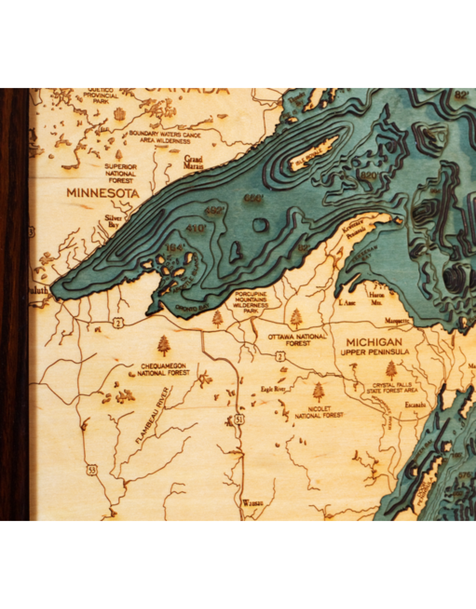 WoodCharts Great Lakes (Lg Bathymetric 3-D Nautical WOODCHART)