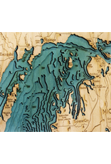 WoodCharts Great Lakes (Lg, Bathymetric 3-D Wood Carved Nautical Chart)