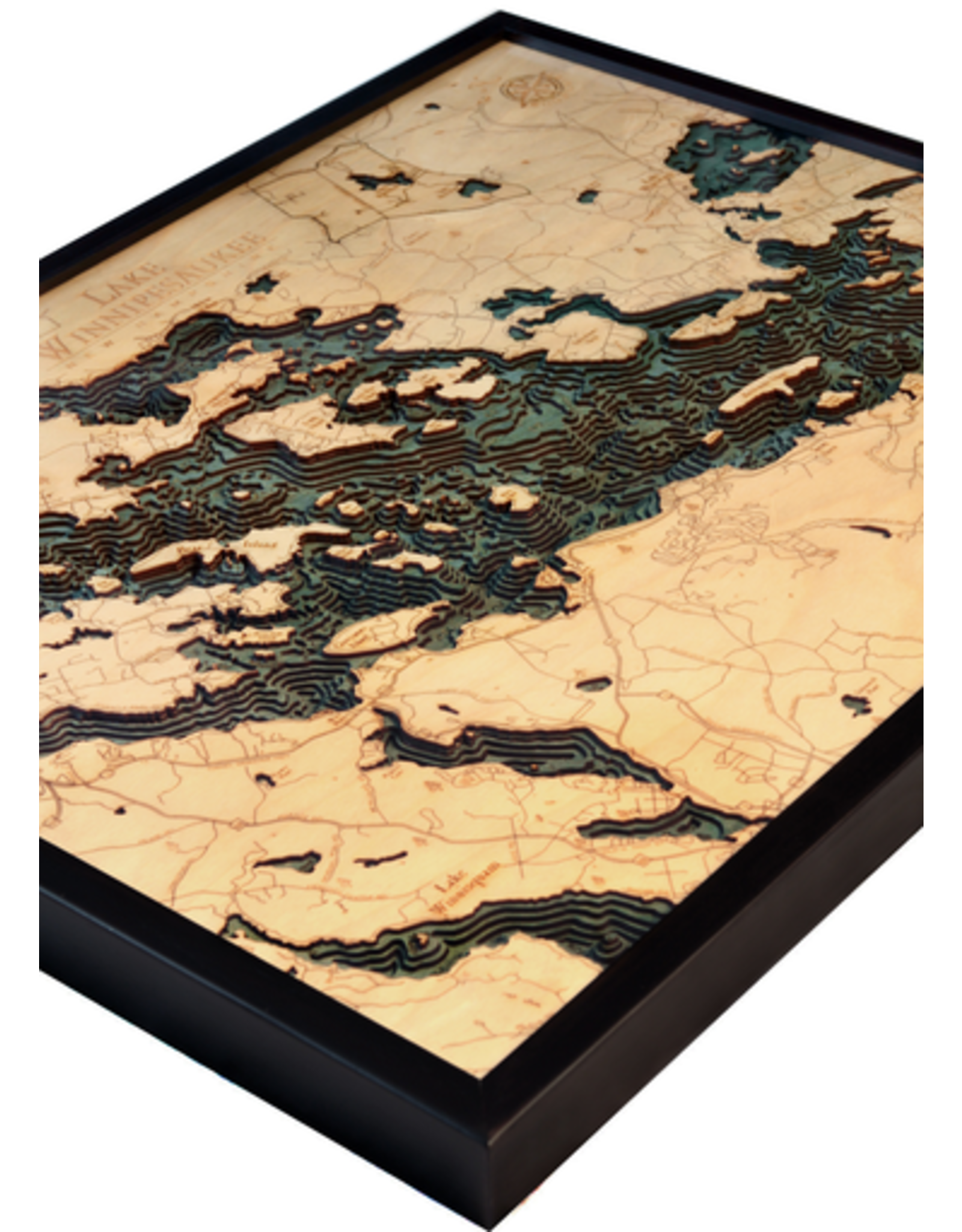 WoodCharts Lake Winnipesauke (Bathymetric 3-D Wood Carved Nautical Chart)