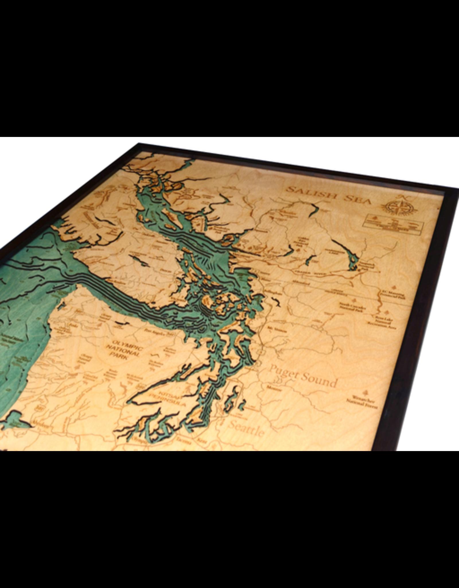 WoodCharts Sailish Sea, WA (Bathymetric 3-D Nautical WOODCHART)
