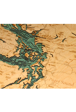 WoodCharts Sailish Sea (Bathymetric 3-D Wood Carved Nautical Chart)