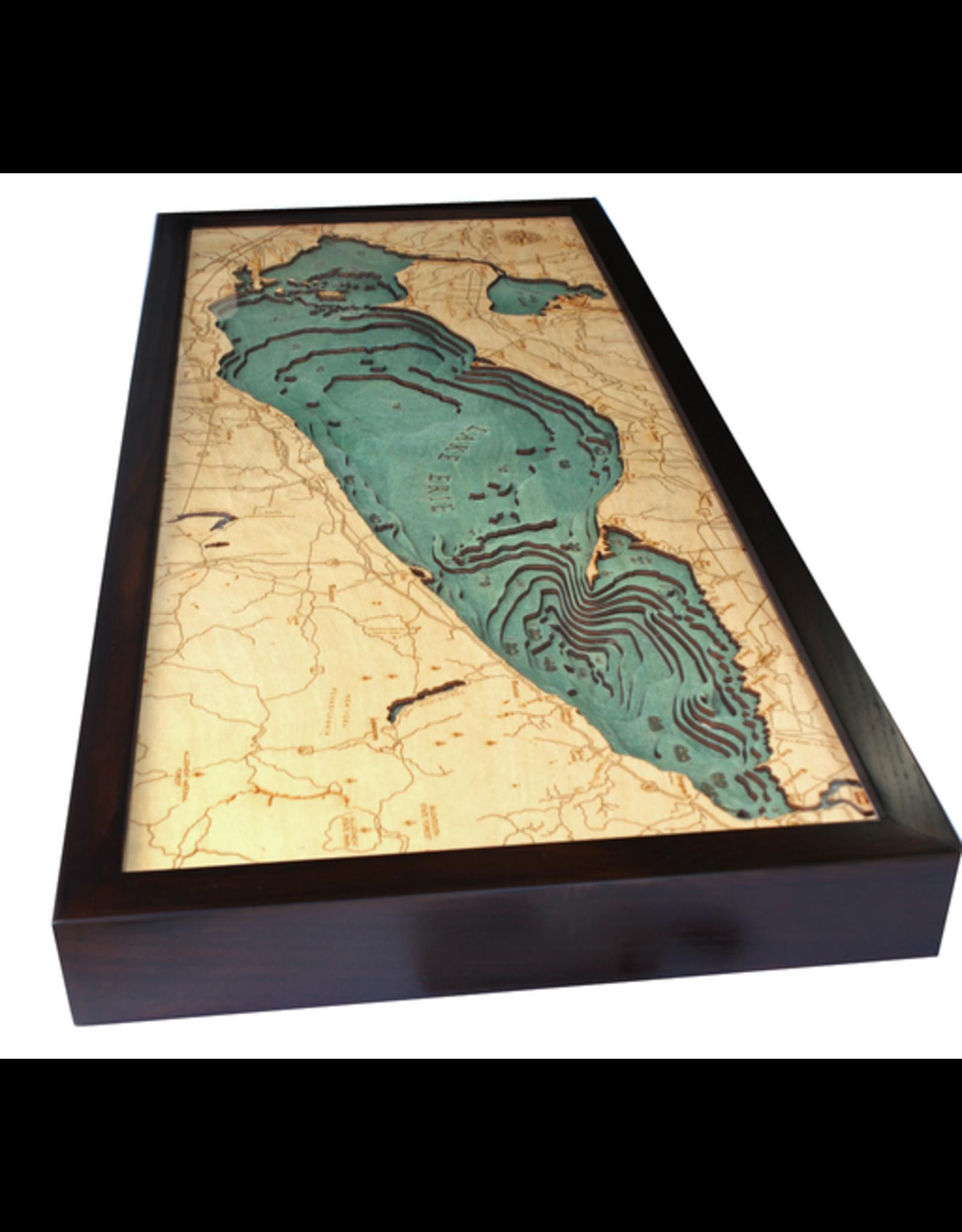 WoodCharts Lake Erie (Bathymetric 3-D Wood Carved Nautical Chart)