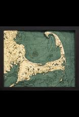 WoodCharts Cape Cod (Sm, Bathymetric 3-D Wood Carved Nautical Chart)