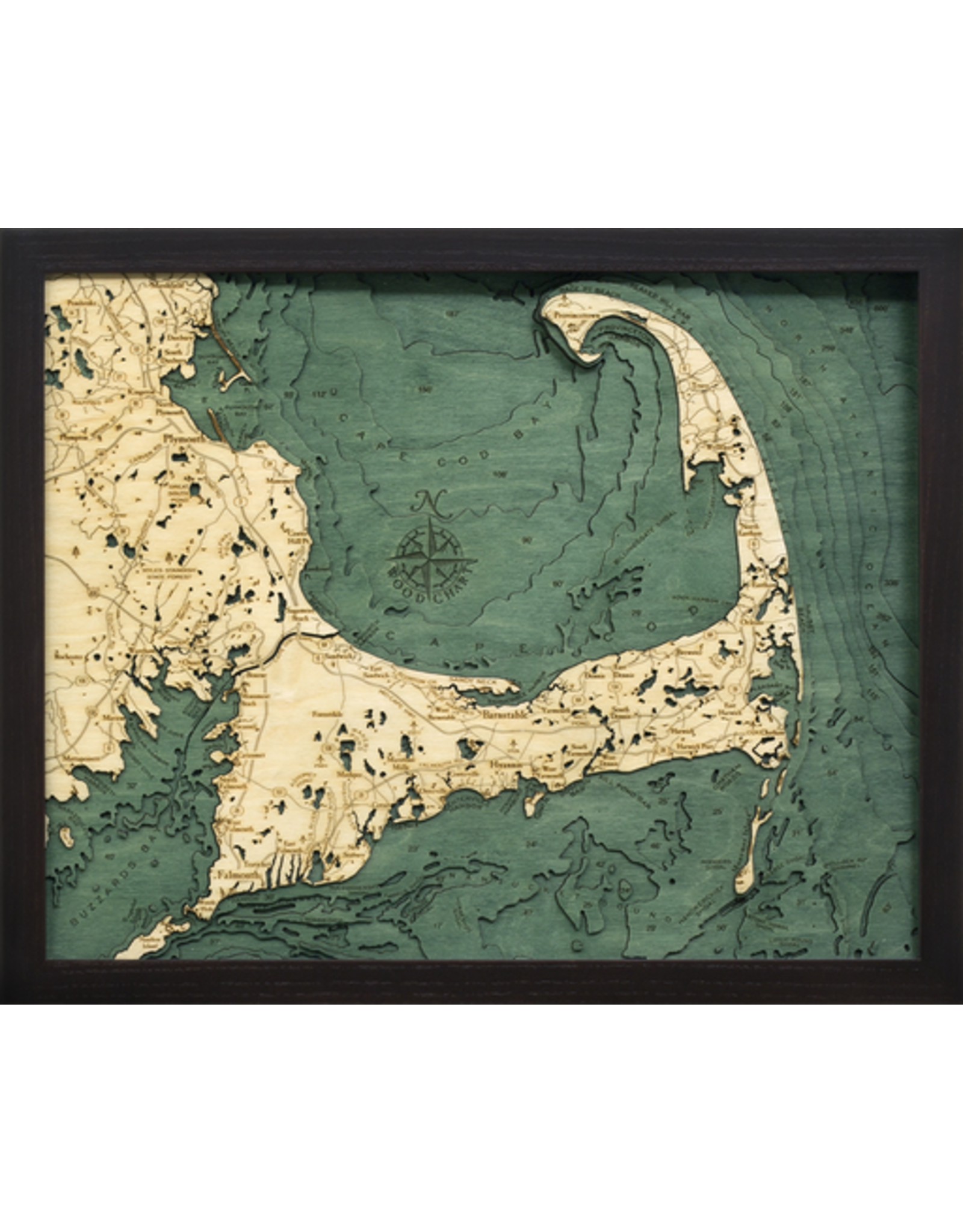 WoodCharts Cape Cod (Sm, Bathymetric 3-D Nautical WOODCHART)