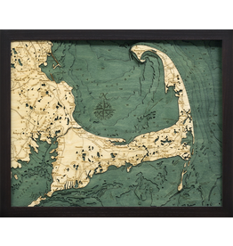 WoodCharts Cape Cod (Sm, Bathymetric 3-D Wood Carved Nautical Chart)