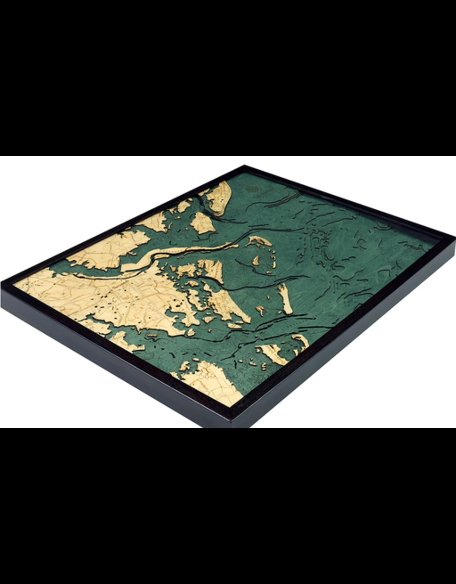 WoodCharts Savannah, GA (Bathymetric 3-D Wood Carved Nautical Chart)