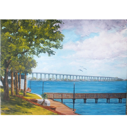Ruthann Hewson Along the Boardwalk (Original Oil, Framed, 18x24)