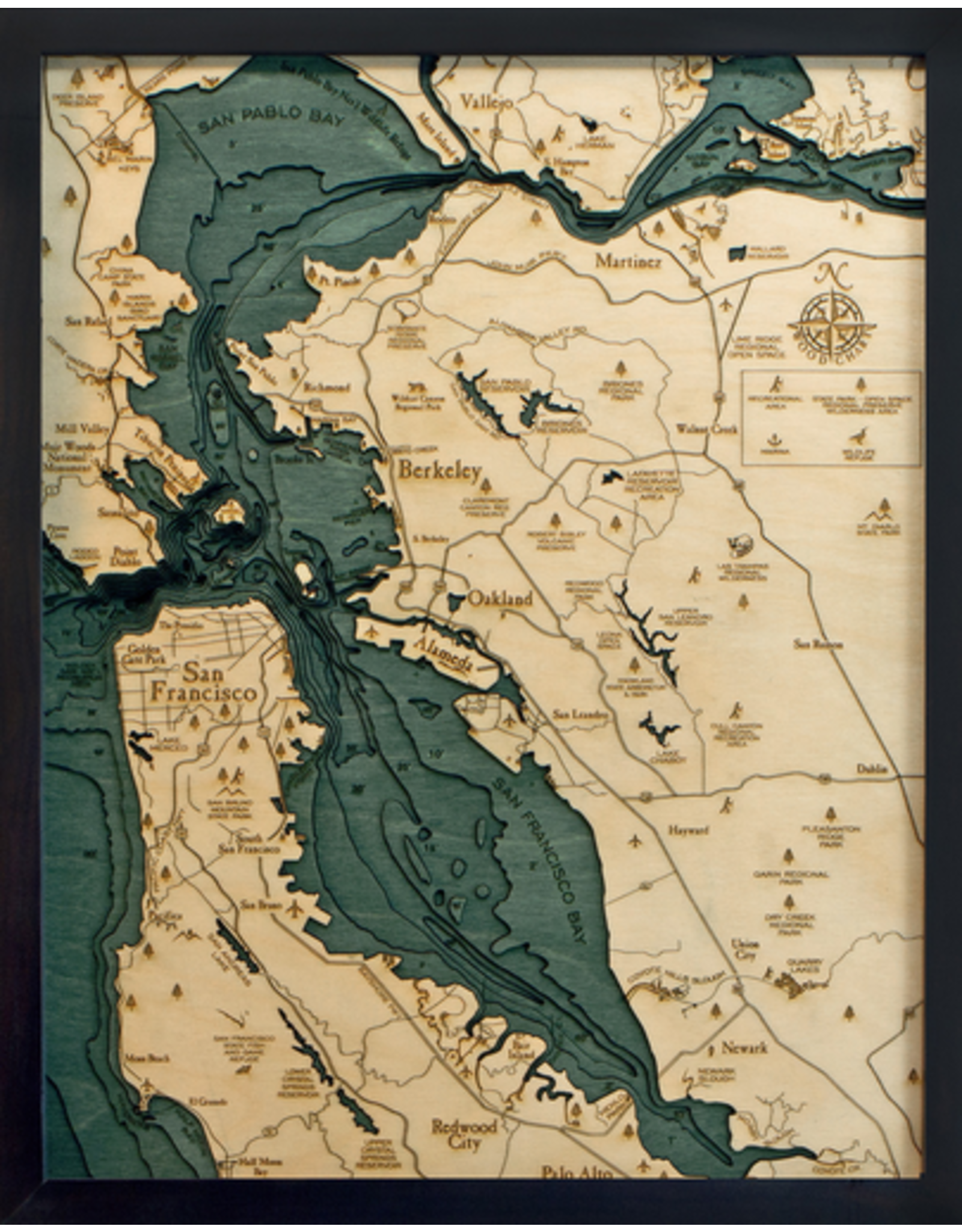WoodCharts San Francisco / Bay Area (Sm, Bathymetric 3-D Wood Carved Nautical Chart)