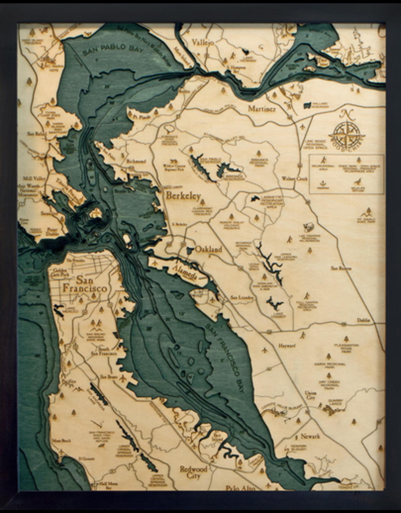 WoodCharts San Francisco / Bay Area (Sm, Bathymetric 3-D Nautical WOODCHART)