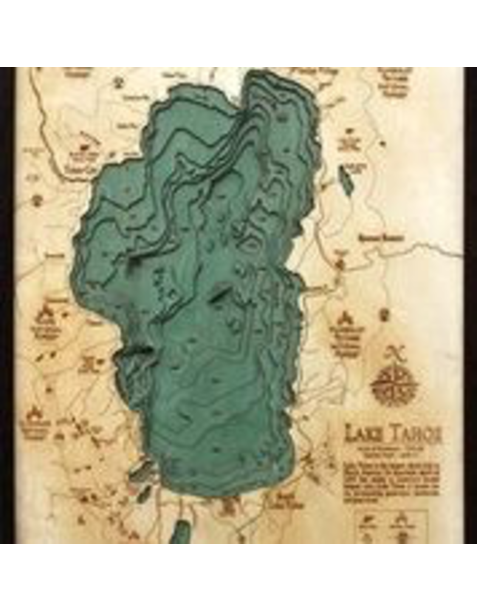 WoodCharts Lake Tahoe (Lg, Bathymetric 3-D Wood Carved Nautical Chart)