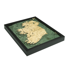 WoodCharts Ireland (Bathymetric 3-D Wood Carved Nautical Chart)