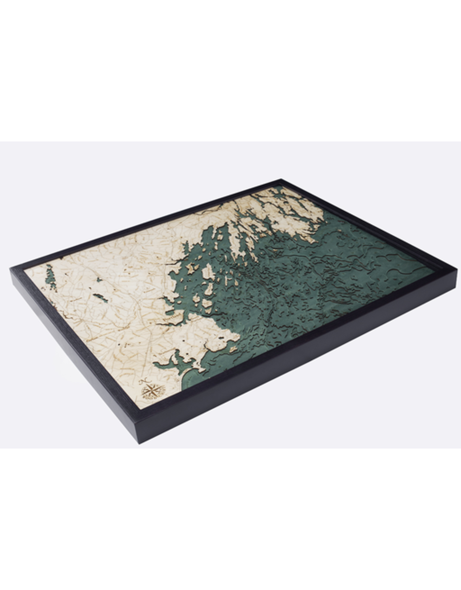 WoodCharts Portland, ME (Bathymetric 3-D Wood Carved Nautical Chart)