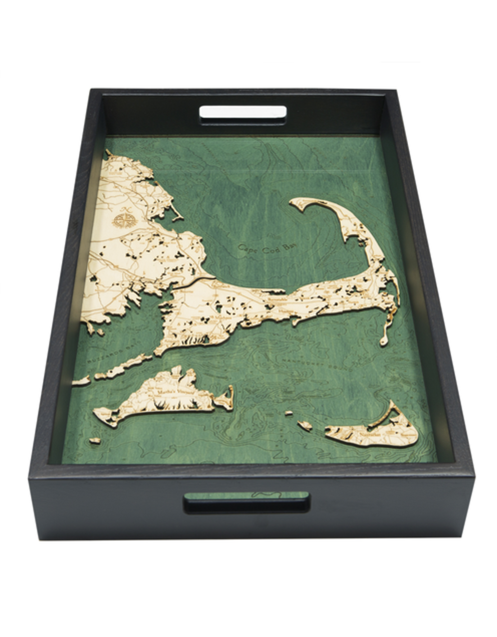 WoodCharts Cape Cod (TRAY, Bathymetric 3-D Wood Carved Nautical Tray)