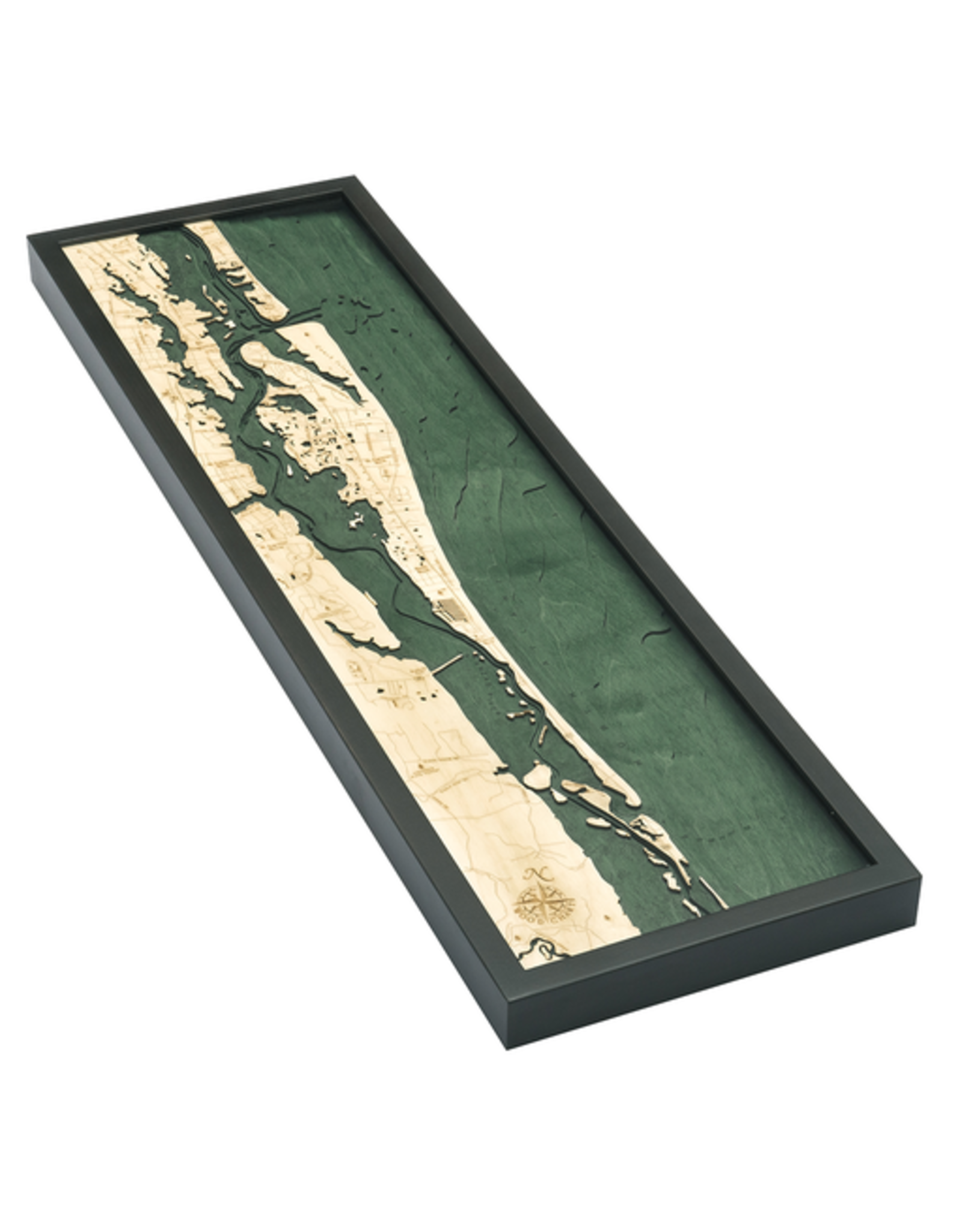 WoodCharts St. Augustine (Bathymetric 3-D Wood Carved Nautical Chart)