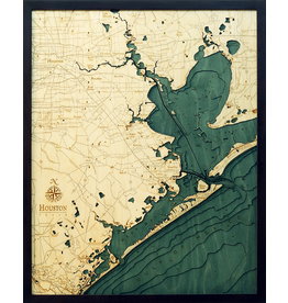 WoodCharts Houston (Bathymetric 3-D Wood Carved Nautical Chart)