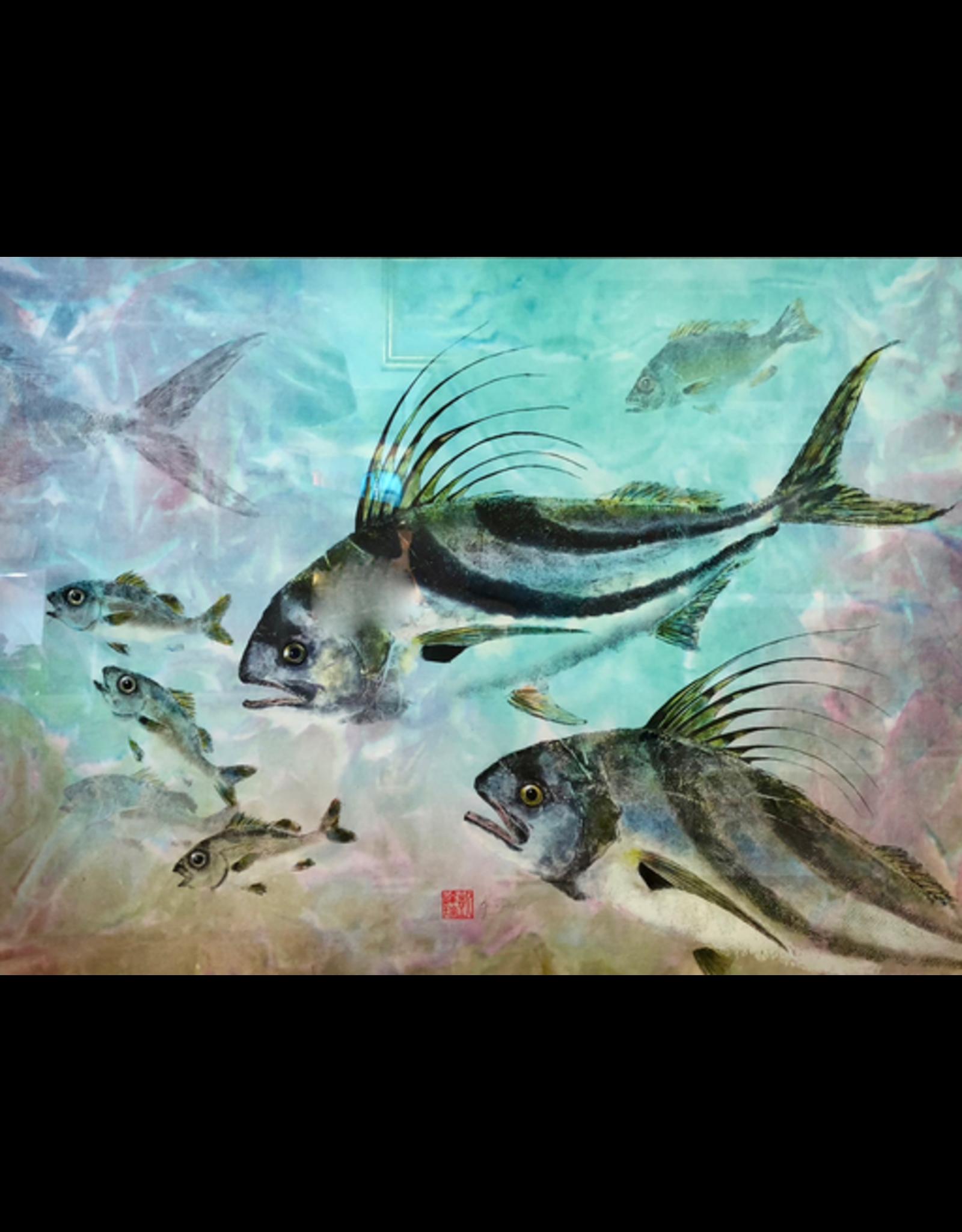 Ken Dara ROOSTER FISH (Gyotaku Giclee, 22x30, Mat, Framed, Signed, KEND)