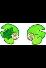 Jabebo Earrings WATER LILIES & FROG