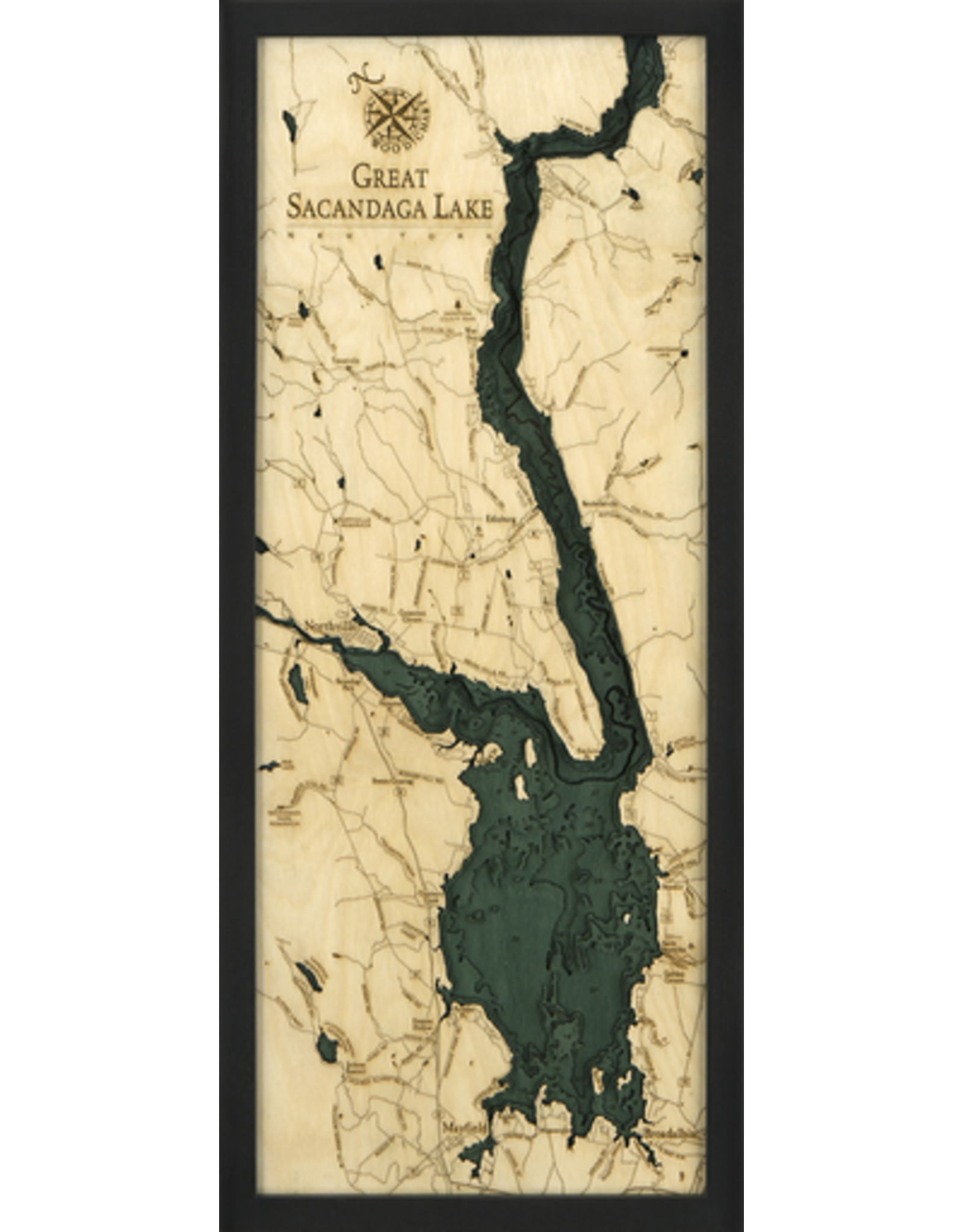 WoodCharts Great Sacandaga Lake (Bathymetric 3-D Nautical WOODCHART)