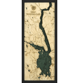 WoodCharts Great Sacandaga Lake (Bathymetric 3-D Wood Carved Nautical Chart)