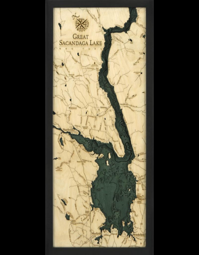 WoodCharts Great Sacandaga Lake (Bathymetric 3-D Wood Carved Nautical Chart)
