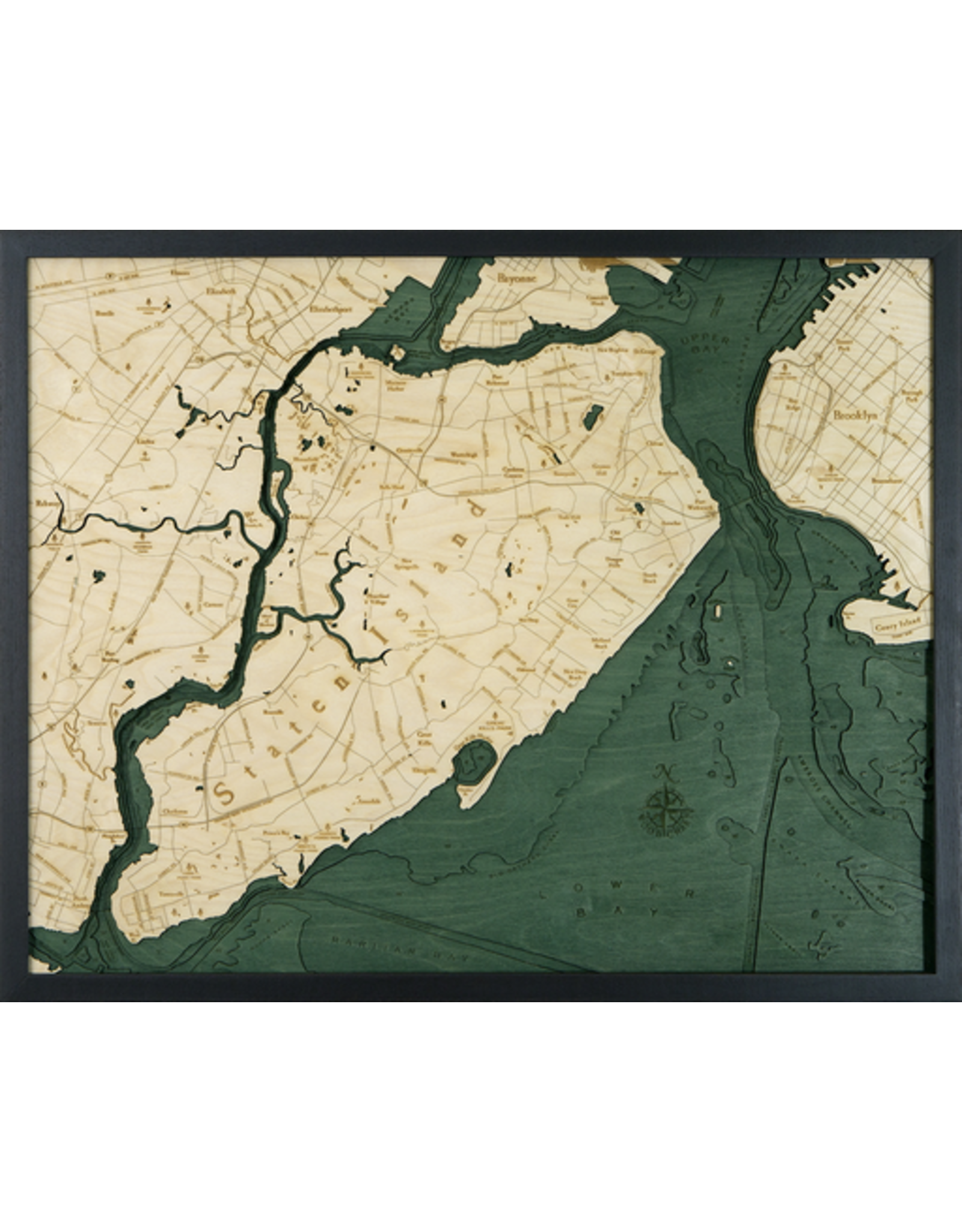 WoodCharts Staten Island (Bathymetric 3-D Wood Carved Nautical Chart)