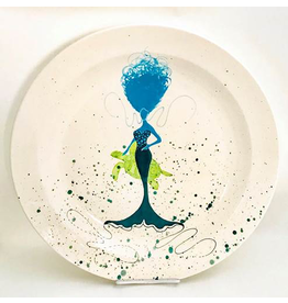 Sara Hunter Platter (BeBe Mermaid, Turtle, Aqua/Teal, XL, 16D. x 2.5H)