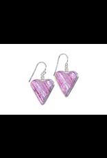 Renaissance Glass HEART EARRINGS (Dichroic Art Glass, #210)