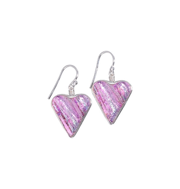 Renaissance Glass HEART EARRINGS (Dichroic Art Glass, Red, Silver or Pink only, #210)